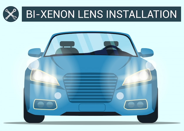Bi-xenon lens installation. blue car with headlight. modern car
