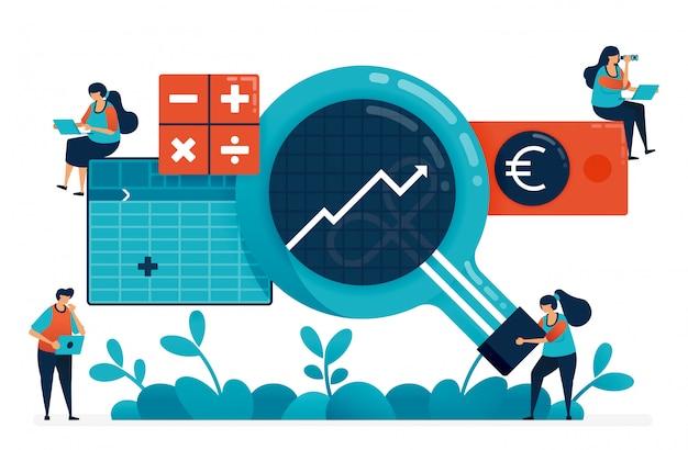 分析、計画、戦略におけるビジネスインテリジェンスまたはbiを備えた会計ソフトウェア。