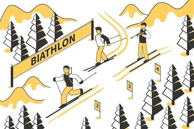3人のバイアスロン選手が等尺性の丘を下るバイアスロン競技