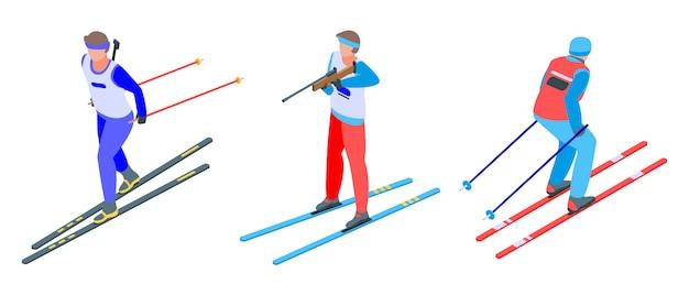 Biathlon icons set, isometric style