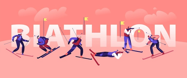 Biathlon tournament concept. sportsmen and sportswomen skiing and shooting by targets on track, world cup olympic games championship poster banner flyer brochure. cartoon flat vector illustration