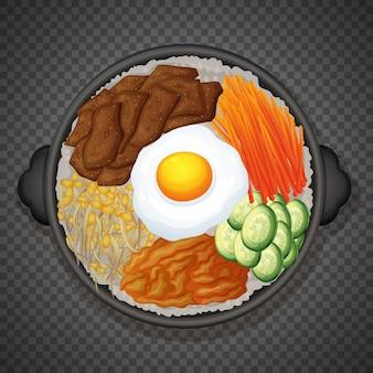 透明な背景にビビンバ韓国料理