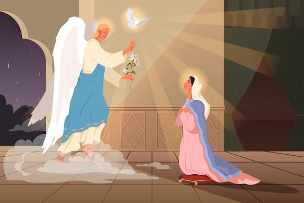 Библейские повествования о благовещении пресвятой богородицы. появляется ангел гавриил и объявляет, что она станет матерью иисуса. христианский библейский персонаж. .