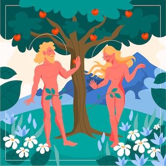 最初の人々についての聖書の物語。リンゴの木の近くに立っているアダムとイブ。キリスト教の聖書の性格。経典の歴史。図。