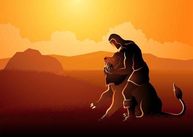 聖書のイラストシリーズ、ライオンと戦うサムソン