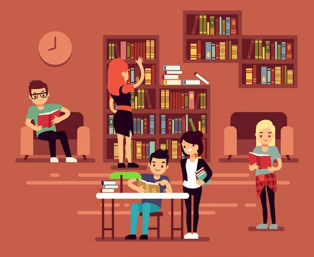 Bibliotheca, school library interior with student vector illustration