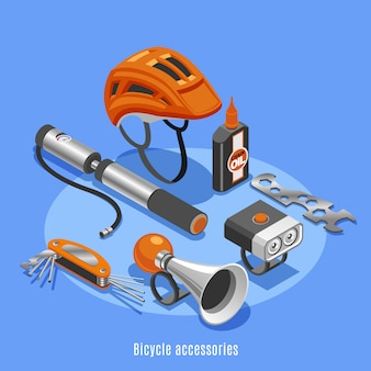 Bicycle accessories with helmet pump klaxon spanner bottle of chain oil icons isometric vector illustration