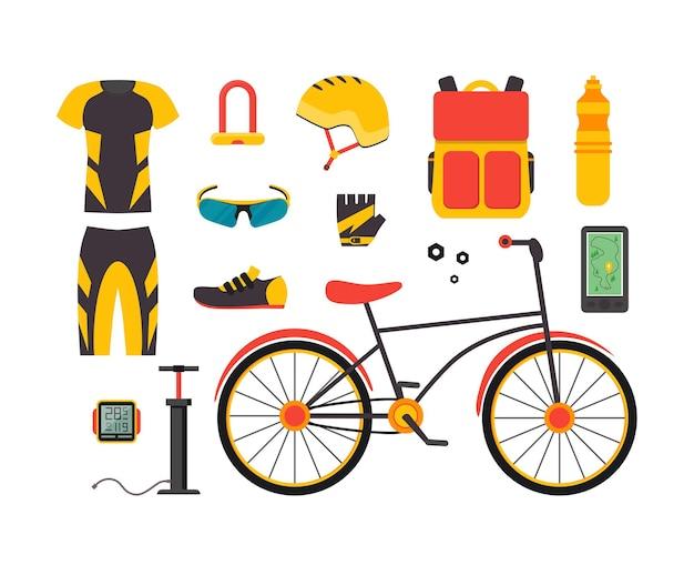 自転車とアクセサリーのセット。スポーツライフスタイル。フラットスタイル。