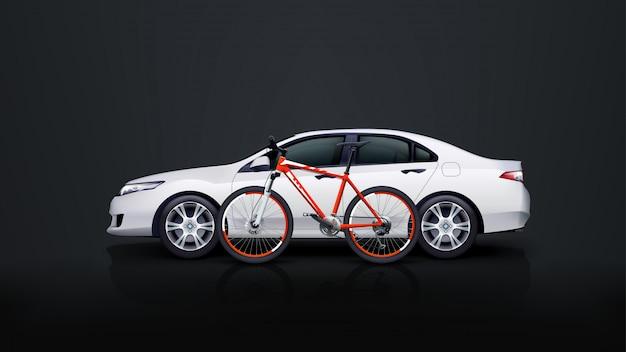 自転車と車 Premiumベクター