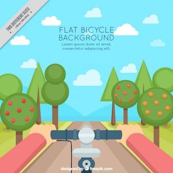 Фон велосипед в красивый пейзаж