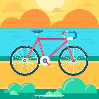 평면 디자인에 일몰 풍경에 자전거 배경