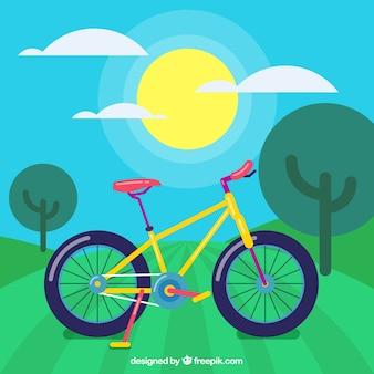 평면 디자인의 풍경에 자전거 배경