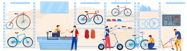Bicycle bike store vector illustration, cartoon flat buyers shoppers people choosing cycles, accessories or equipment at bike shop