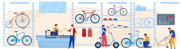 Велосипедный магазин векторная иллюстрация, мультяшные плоские покупатели, покупатели, люди, выбирающие велосипеды, аксессуары или оборудование в велосипедном магазине