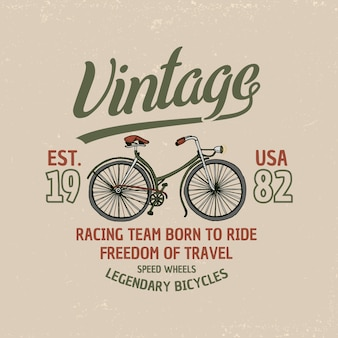 Bicycle, bike or velocipede. travel illustration. logo emblem or label, engraved hand drawn in old sketch and vintage transport.