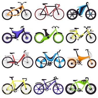 Bicycle bikers cycle biking set