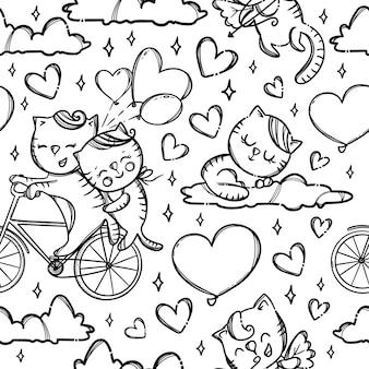 雲の上の自転車の猫。バレンタインデーの漫画の動物のモノクロの手描きのシームレスなパターン