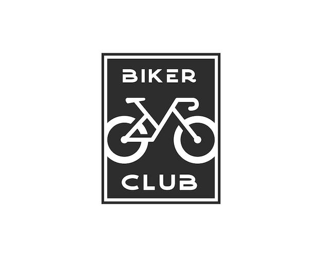 自転車クラブのロゴデザイン。黒い正方形のロゴデザインテンプレートのネガティブスペースとしてのバイカークラブライン