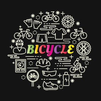 Bicycle colorful gradient with line icons set