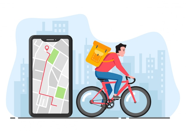 Bicycle delivering service. man riding bicycle with box in big city. delivery and navigation application