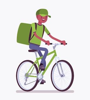 自転車配達黒人少年