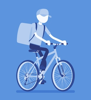 Bicycle delivery boy. courier service worker on bike delivers food, order, parcel to customer, online ordering city shipping. vector illustration with faceless character