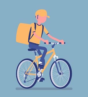 自転車配達の少年。自転車に乗っている宅配便のサービスワーカーは、食品、注文、または小包を顧客に配達し、市内配送をオンラインで注文します。顔のない文字でベクトルイラスト