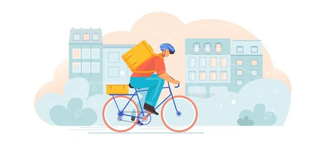 Composizione di consegna biciclette con carattere piatto di corriere in sella a bici con borsa da trasporto sul paesaggio urbano
