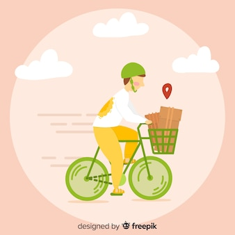 Bicycle delivery concept in hand drawn style