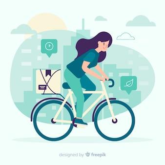 플랫 스타일의 자전거 배달 개념