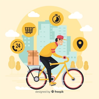 Bicycle delivery concept Free Vector