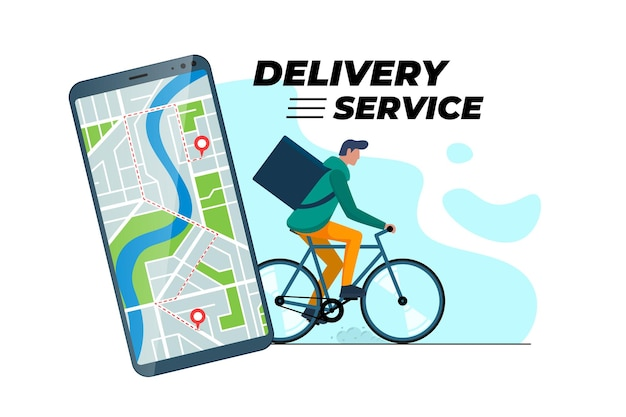 Bicycle delivery ordering service app concept. smartphone with geotag gps location pin on city street and express shipping courier with backpack. online order application vector eps illustration