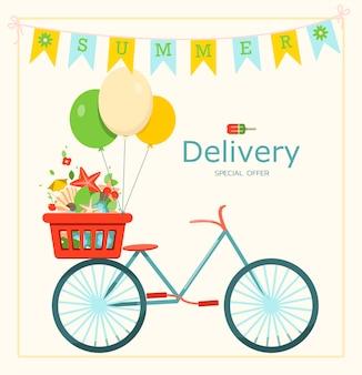 Доставка велосипедов векторный баннер для летней распродажи шаблон объявления горячие летние распродажи типография дизайн