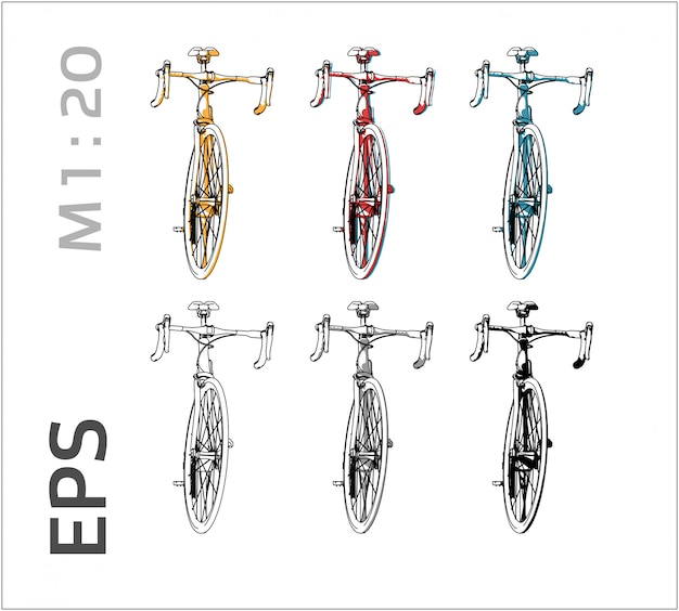 Bicycle drawing set on different colors, front view