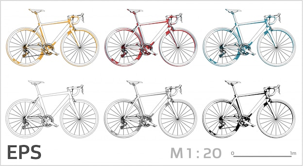 Bicycle drawing set on different colors, side view