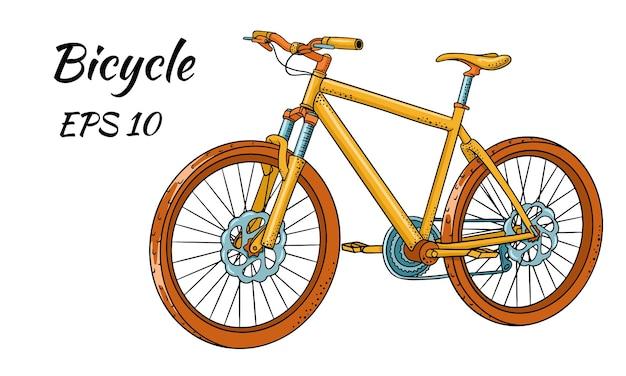 만화 스타일에 그려진 자전거입니다.