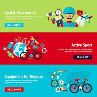 Bicycle flat banner template set