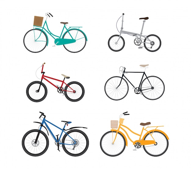 Bicycle flat design vector set isolated on white
