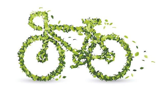 Bicycle from green leaves