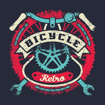 Bicycle grunge vintage poster with wheel, parts and ribbon
