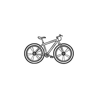 자전거 손으로 그린 개요 낙서 아이콘입니다. 자전거 경주 및 운동, 여행 및 속도 타기, 교통 개념