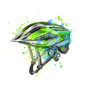 Bicycle helmet from a splash of watercolor, hand drawn sketch.  illustration of paints