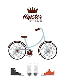 自転車ヒップスタースタイルの隔離されたアイコン