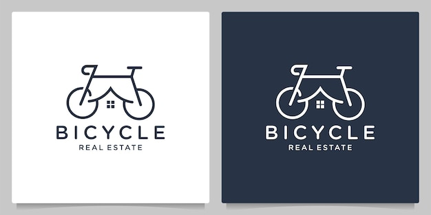 Bicycle home real estate creative graphic concepts line outline logo design
