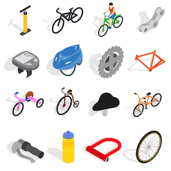 Bicycle icons set in isometric 3d style isolated on white background