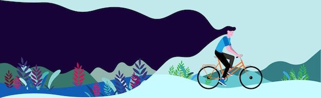 夏の自然の中で自転車。フラットのベクターイラストです。