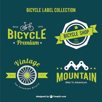 Bicycle labels set in green color