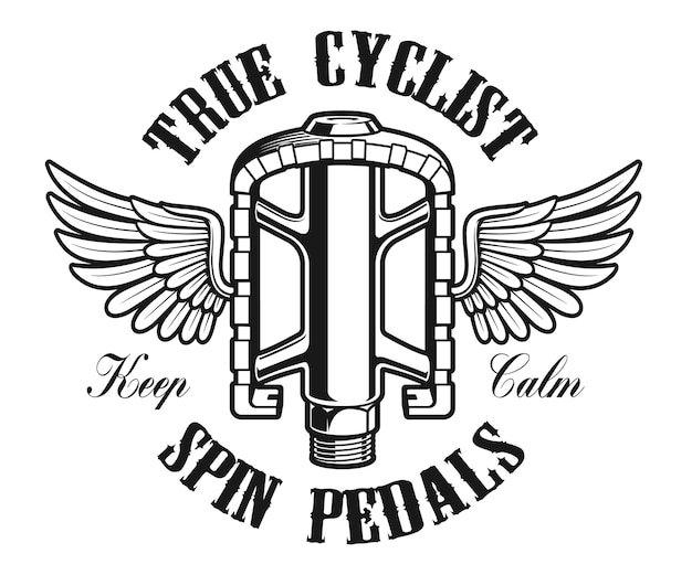 Bicycle logo, vintage illustration of a bicycle pedal with wings on the white background