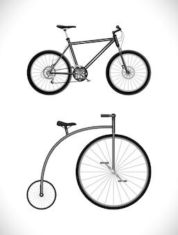 Велосипед современный и старый значок