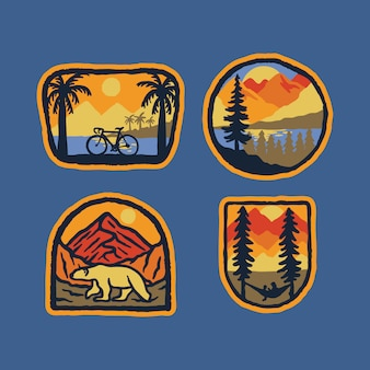 Bicycle nature polar bear nature wild badge patch pin graphic illustration